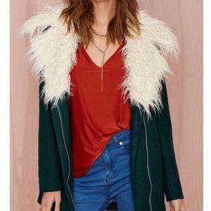 Nasty Gal Green Shaggy Fur Wool Coat Small
